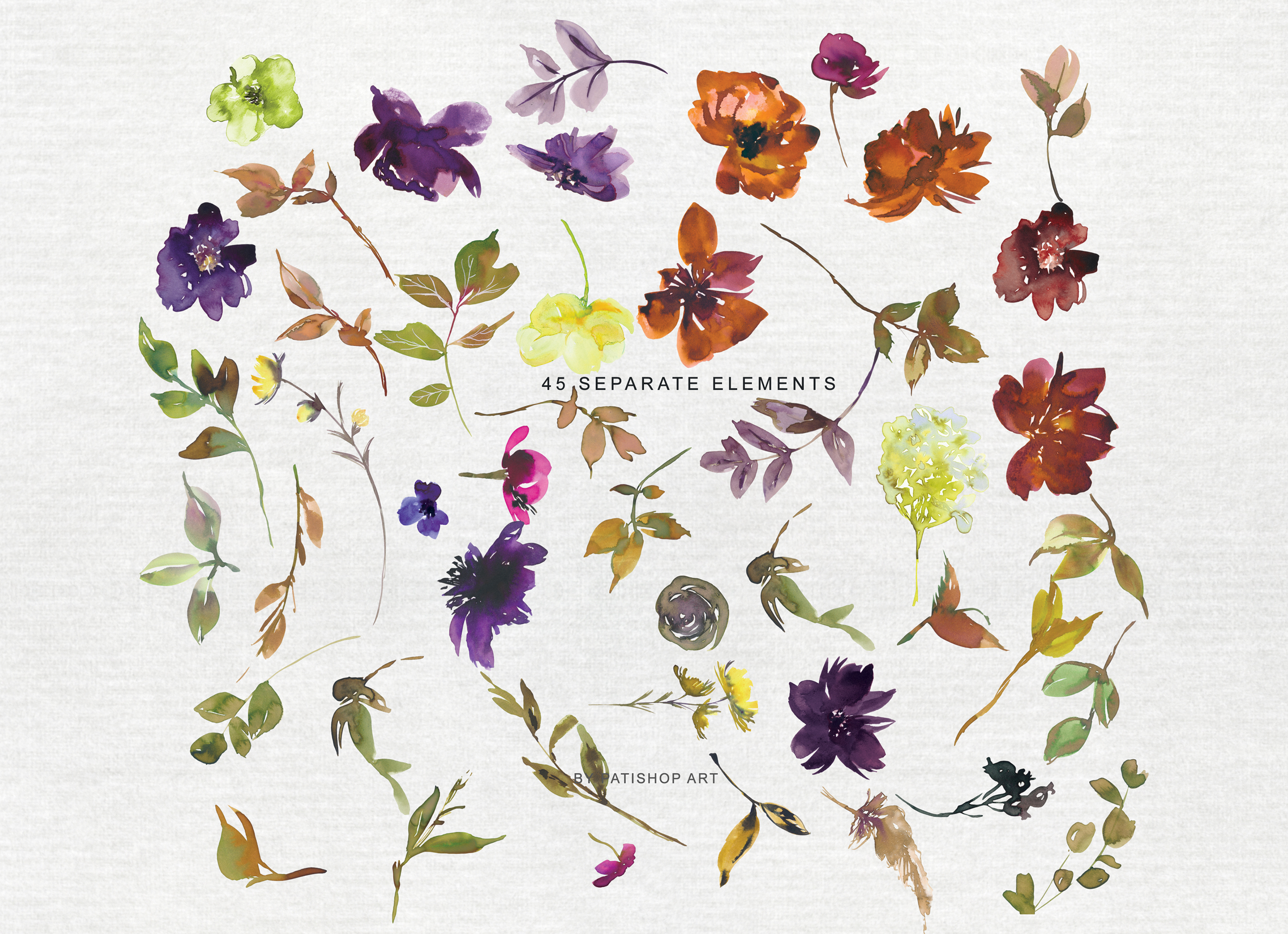 Watercolor Autumn Flowers Clipart & Patterns example image 10