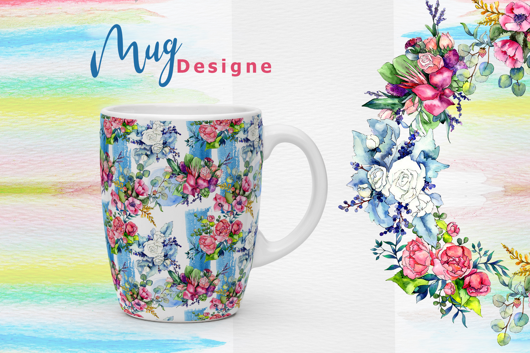 Spring bouquet PNG watercolor set  example image 8