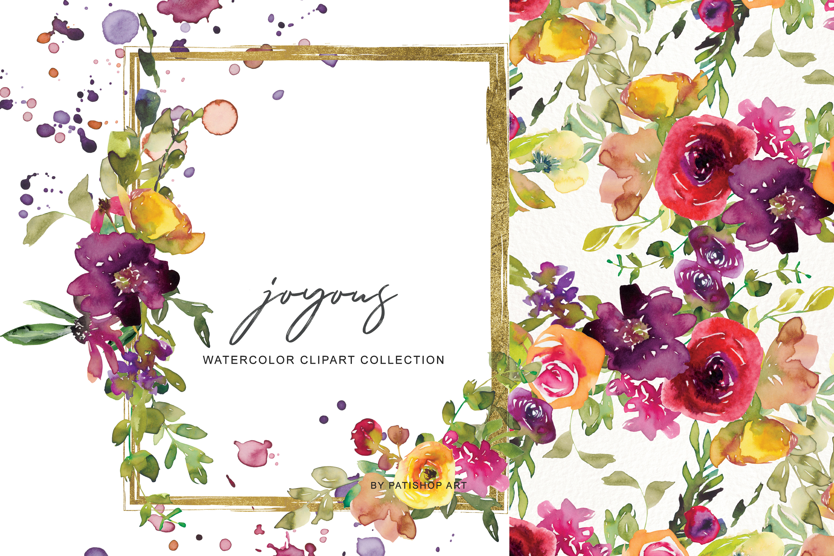 Watercolor Burgundy and Yellow Floral Bouquet Clipart example image 1