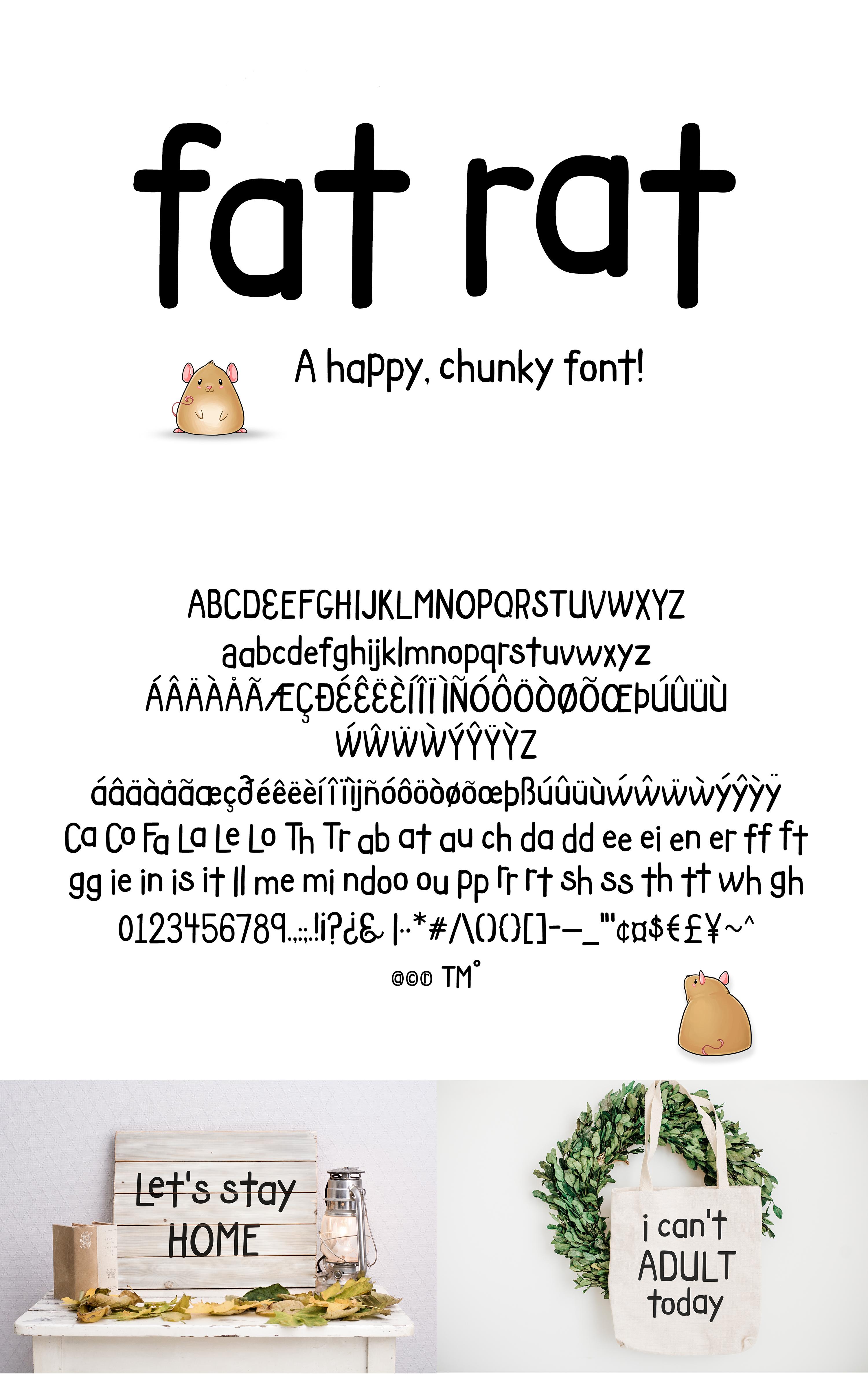 Fat Rat Font - a happy, chunky brush sans serif craft font example image 2