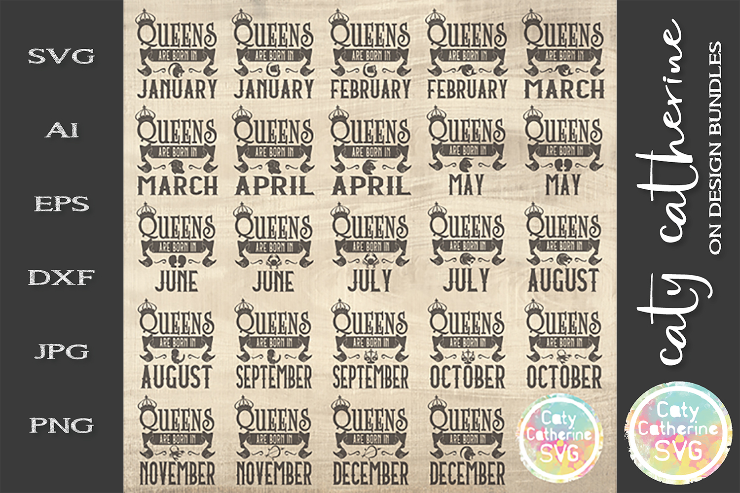 Queens Are Born In SVG Includes ALL Months & Star Signs example image 2