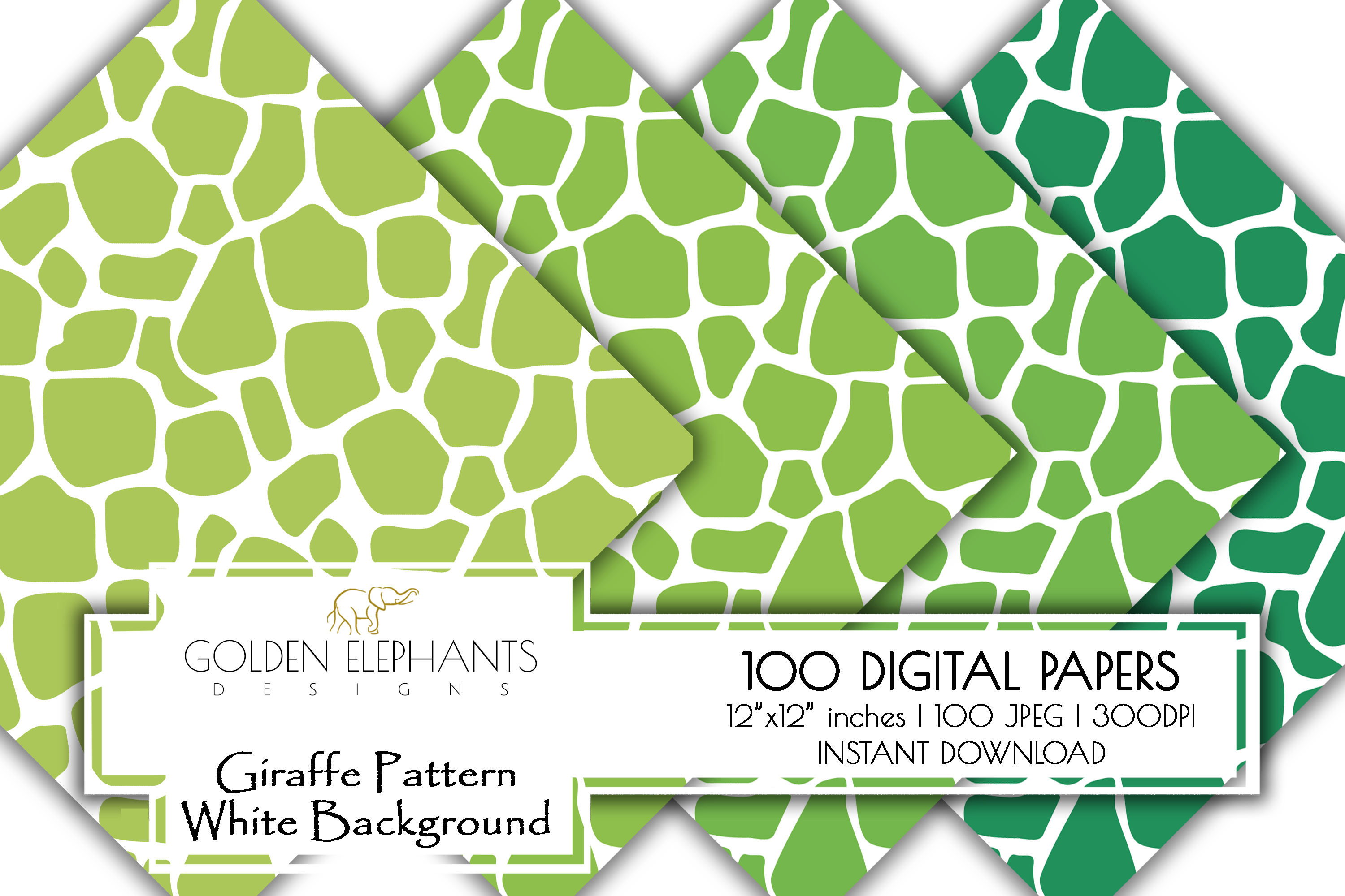 100 Giraffe Pattern w/ White Background Digital Paper example image 8