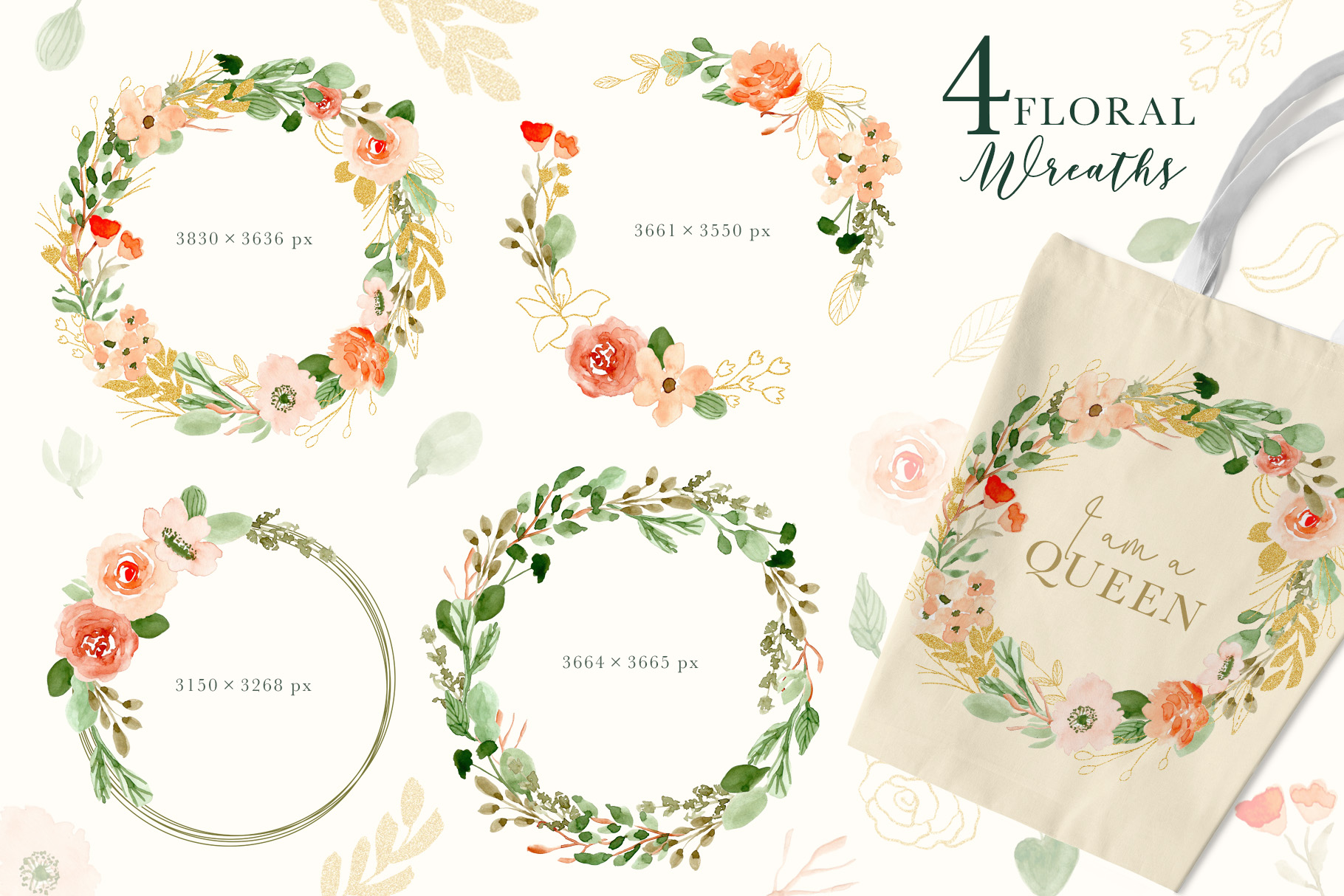 Classy Florals - Watercolor Clipart example image 3