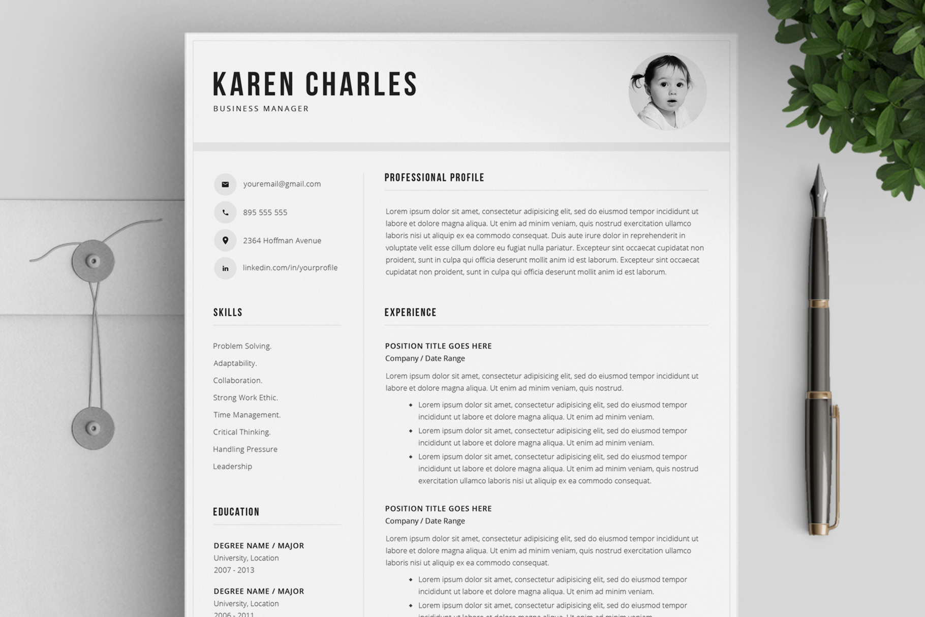 Resume Template and Cover Letter / 4 Pages example image 1
