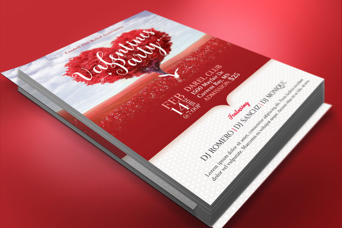 Tree Heart Valentines Party Flyer Template example image 3