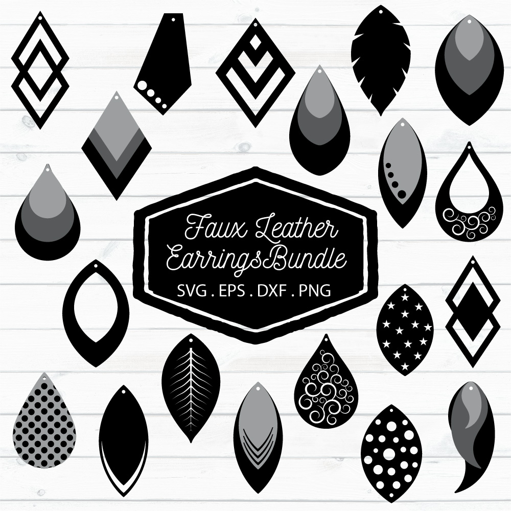 Faux Leather Earrings Bundle SVG, EPS, DXF, PNG (99717