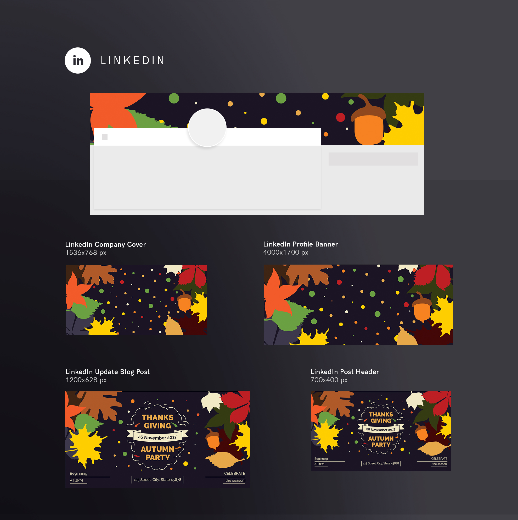 Thanksgiving Autumn Party Design Templates Bundle example image 12