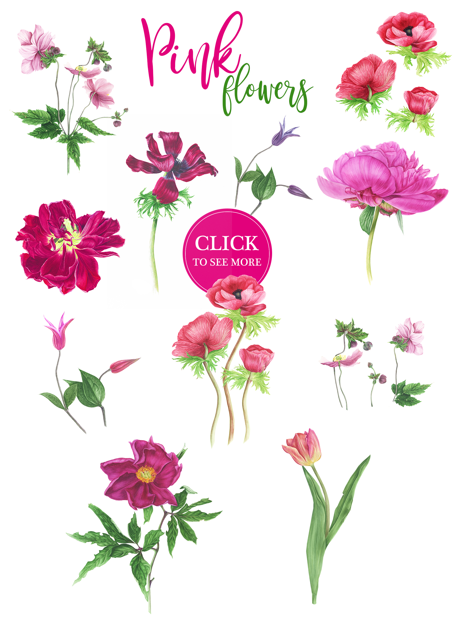 Watercolor Pink flowers example image 2