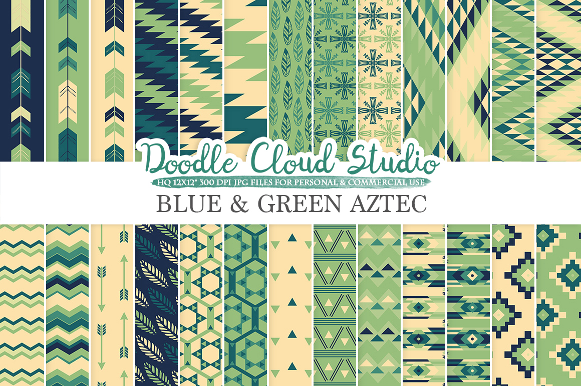 Blue and Green Aztec digital paper ,Tribal patterns native triangles geometric ethnic arrows Cream backgrounds for Personal & Commercial Use example image 1