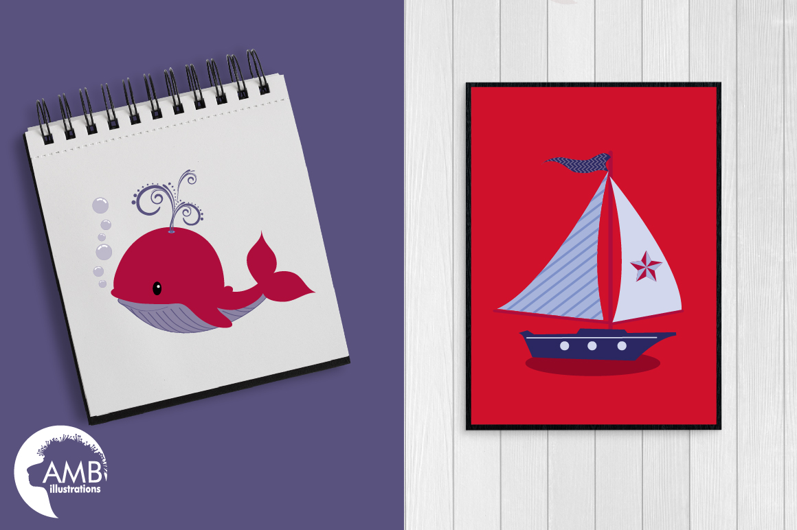 Nautical Whales clipart, graphics, illustrations AMB-521 example image 4