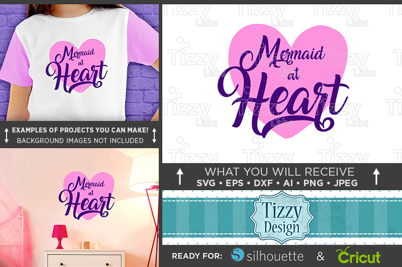Mermaid at Heart SVG - Mermaid Shirt SVG File - 1061 example image 1