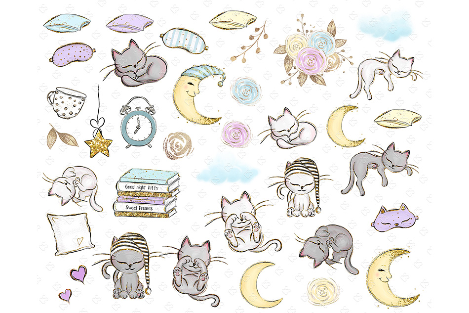 Kittens Clipart, Cute Cats Illustrations, Printable Graphics example image 2