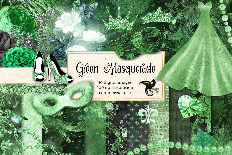 Green Masquerade Digital Scrapbooking Kit example image 1