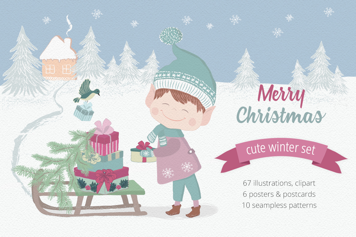 Merry Christmas Illustration Set example image 1