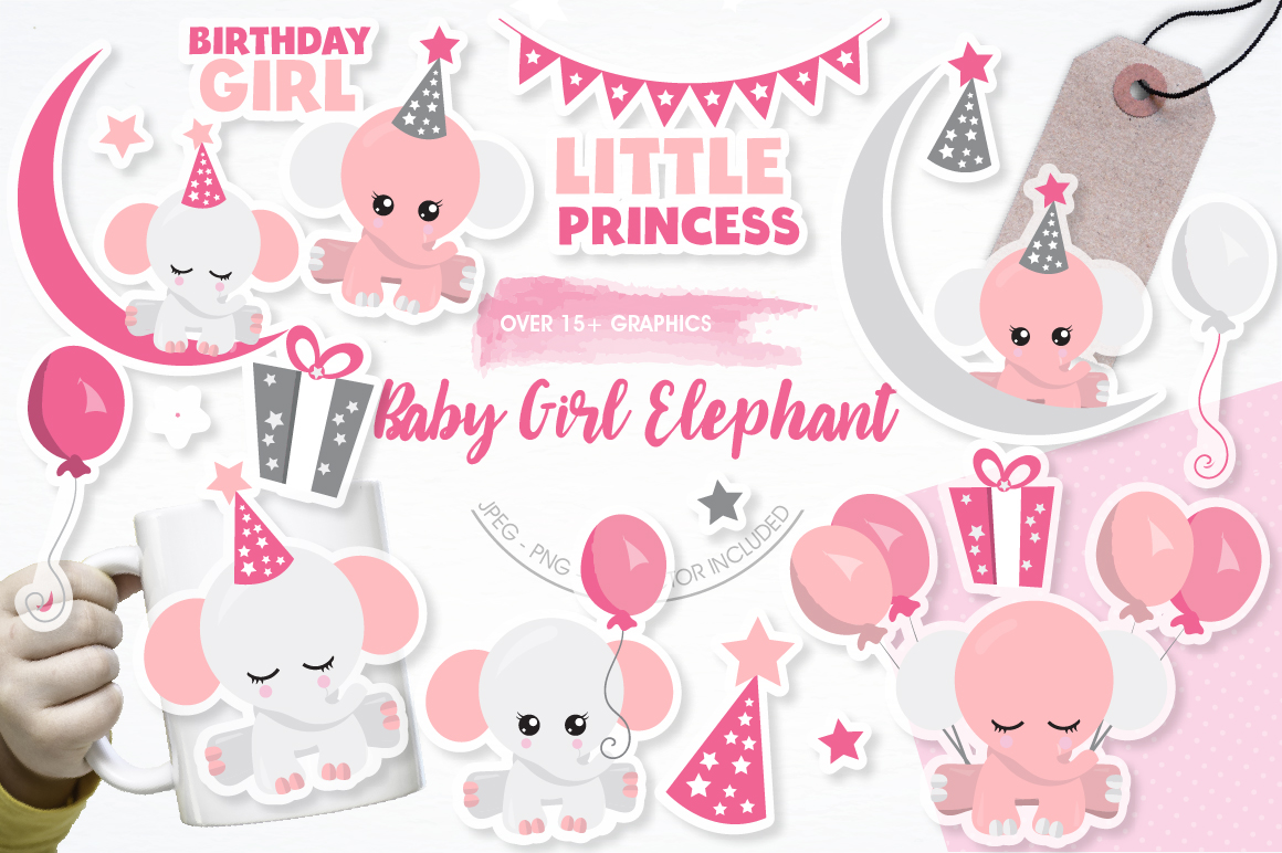 Baby girl Elephant graphics and illustrations example image 1