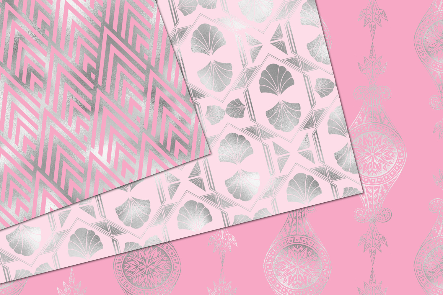 Pink and Silver Art Deco Digital Paper example image 2