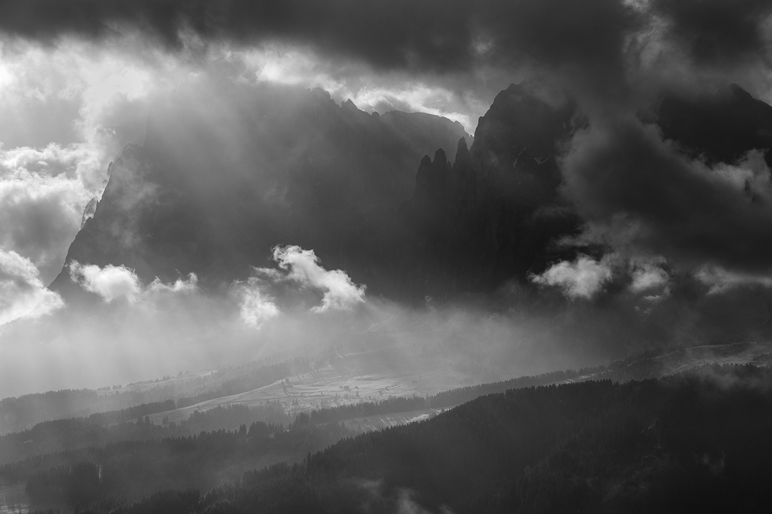 Black and white clouds in dolomites example image 1