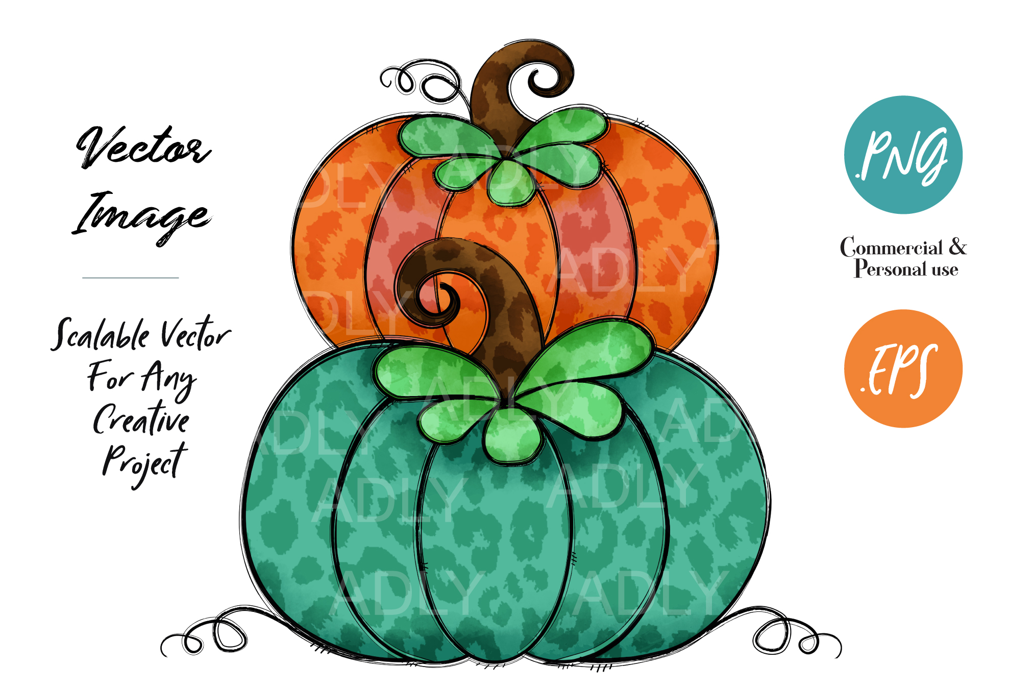 Orange and Green Turquoise Pumpkin Design Halloween Autumn example image 1