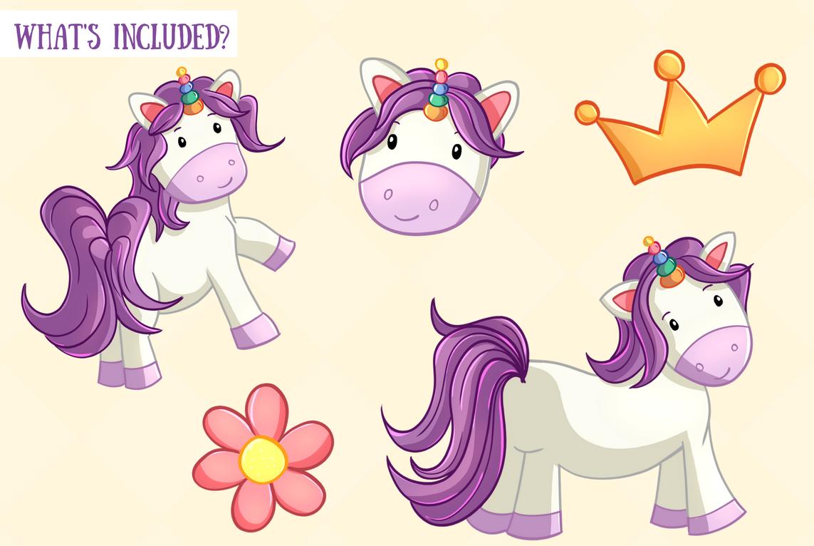 Cute Unicorns and Rainbows Clip Art Set