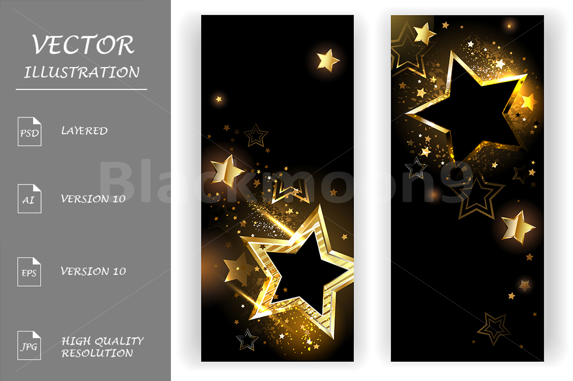 Two Banners with Golden Stars example image 1