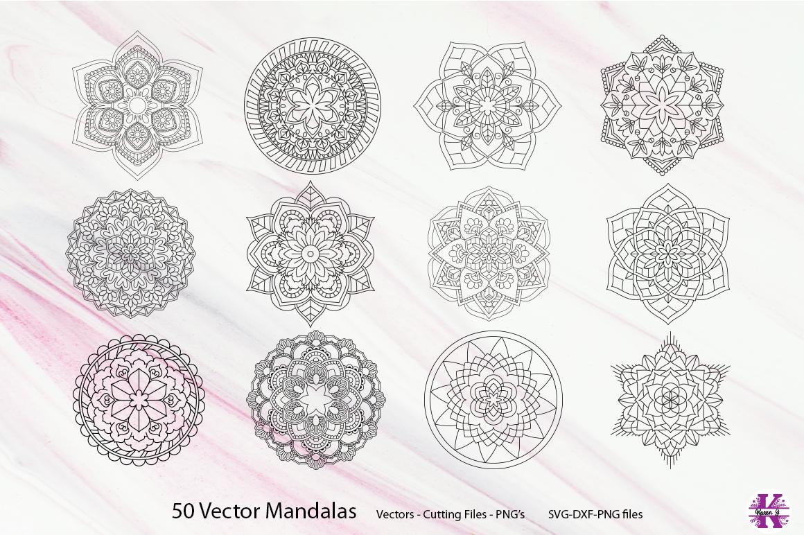 50 Vector Mandalas, Cut Files & PNG's - SVG DXF PNG example image 13