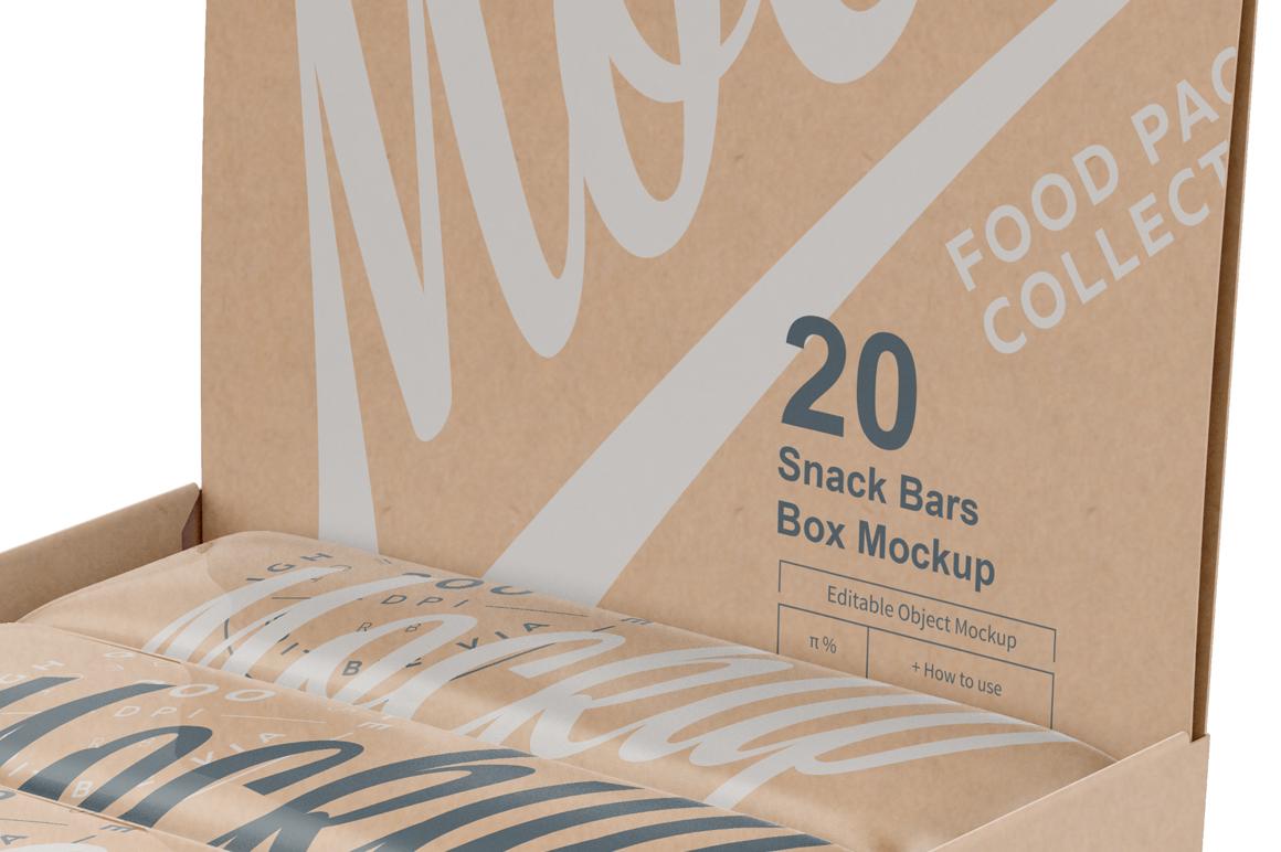 20 Kraft Snack Bars Display Box Mockup example image 5