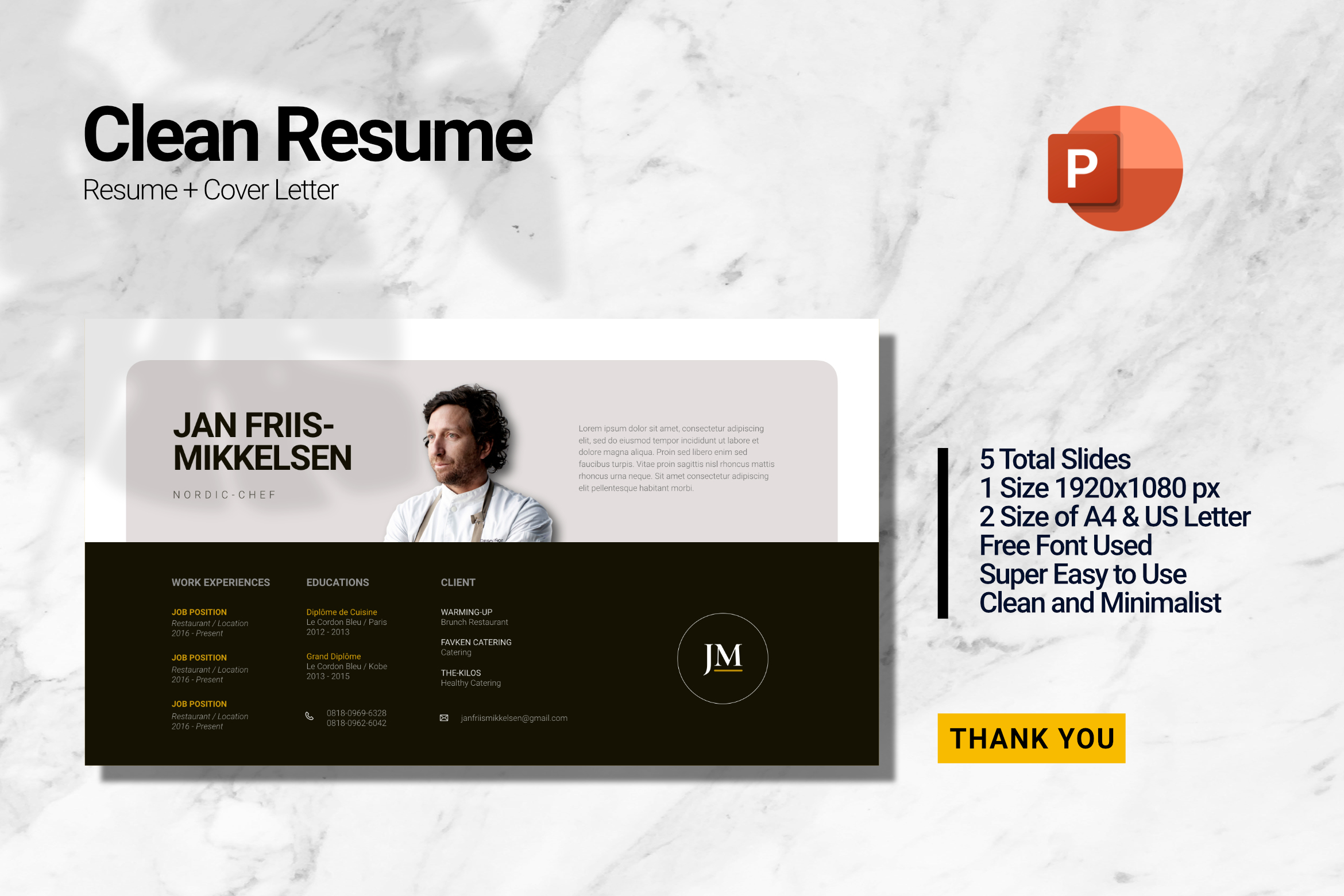 Clean Chef Resume Powerpoint example image 1