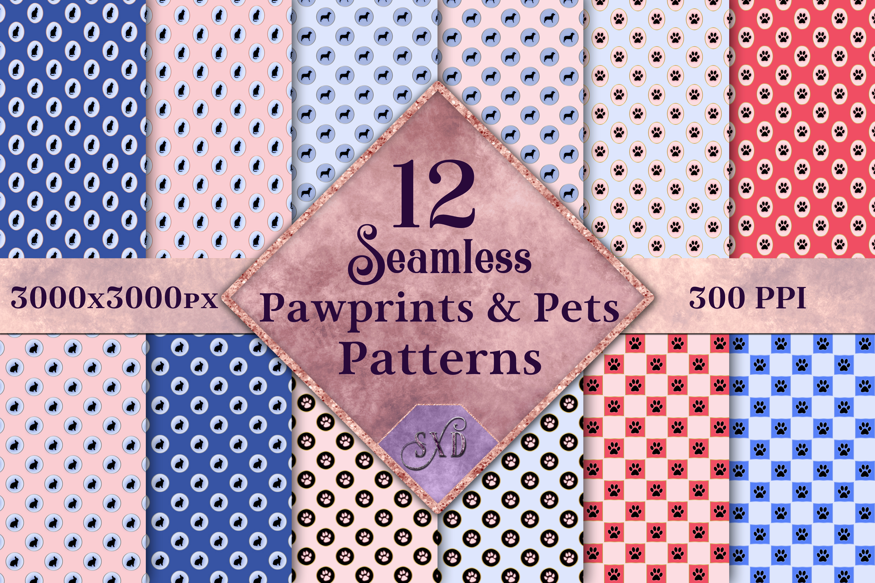 Seamless Pawprints & Pets Patterns - 12 Images example image 1