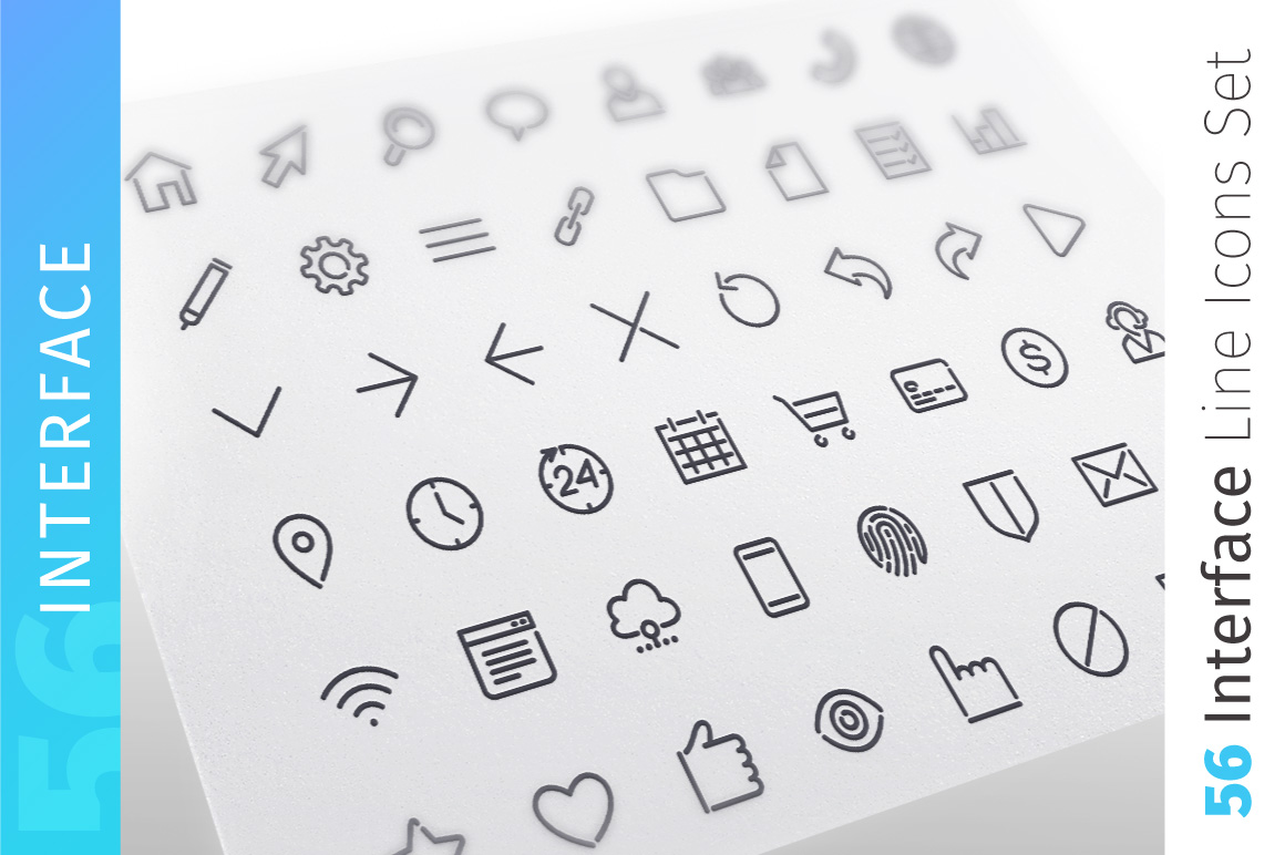 Interface Line Icons Set example image 1