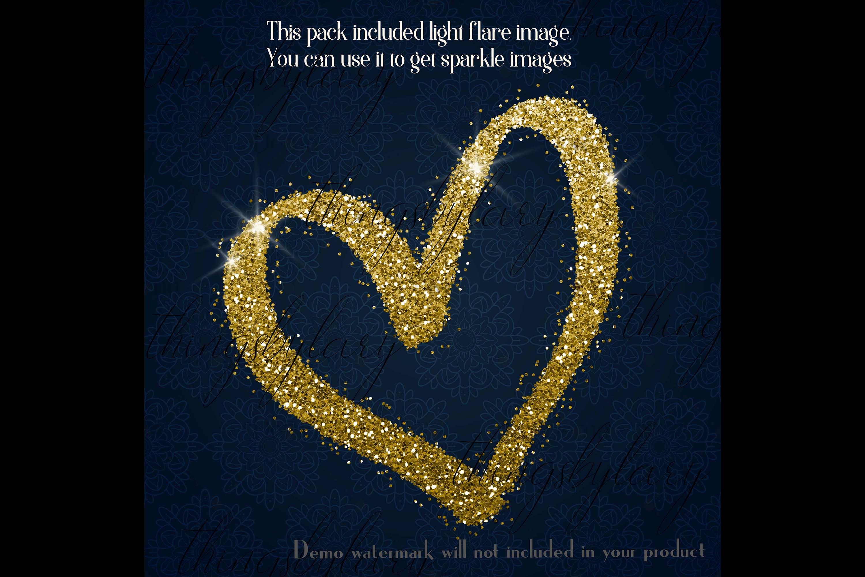 30 Gold Glitter Hand Drawn Heart Clip Arts Wedding Valentine example image 5