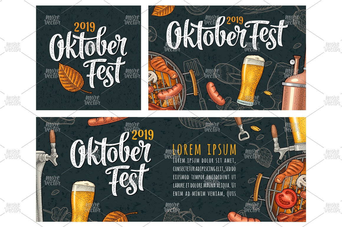 Horizontal posters to oktoberfest 2019 festival engraving example image 2
