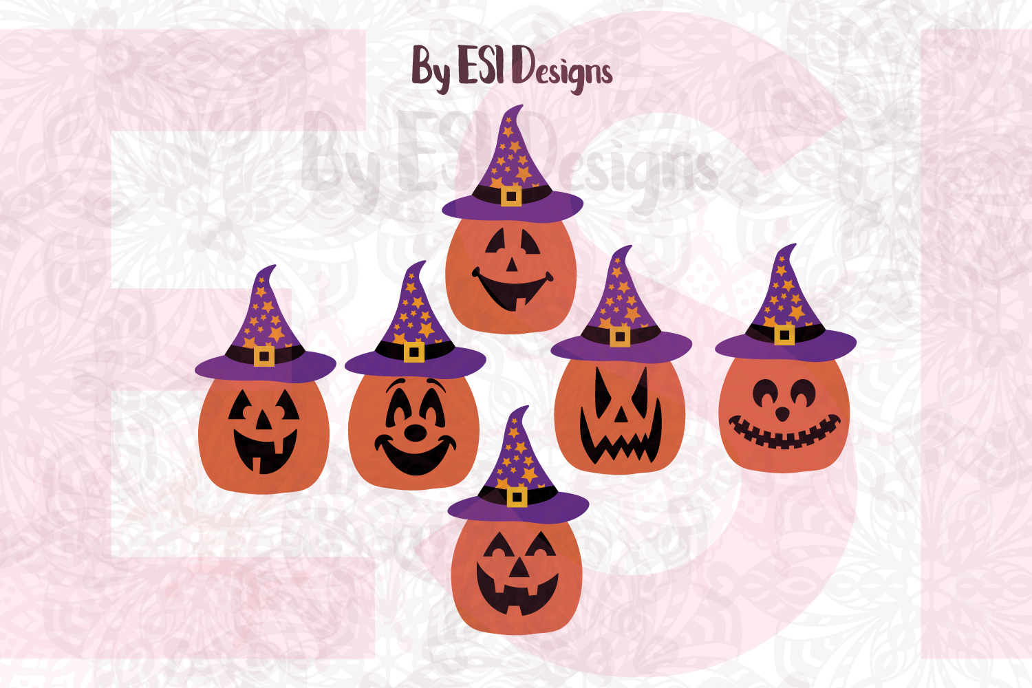Pumpkin Jack O Lantern Faces With Hats Cutting Files Printables