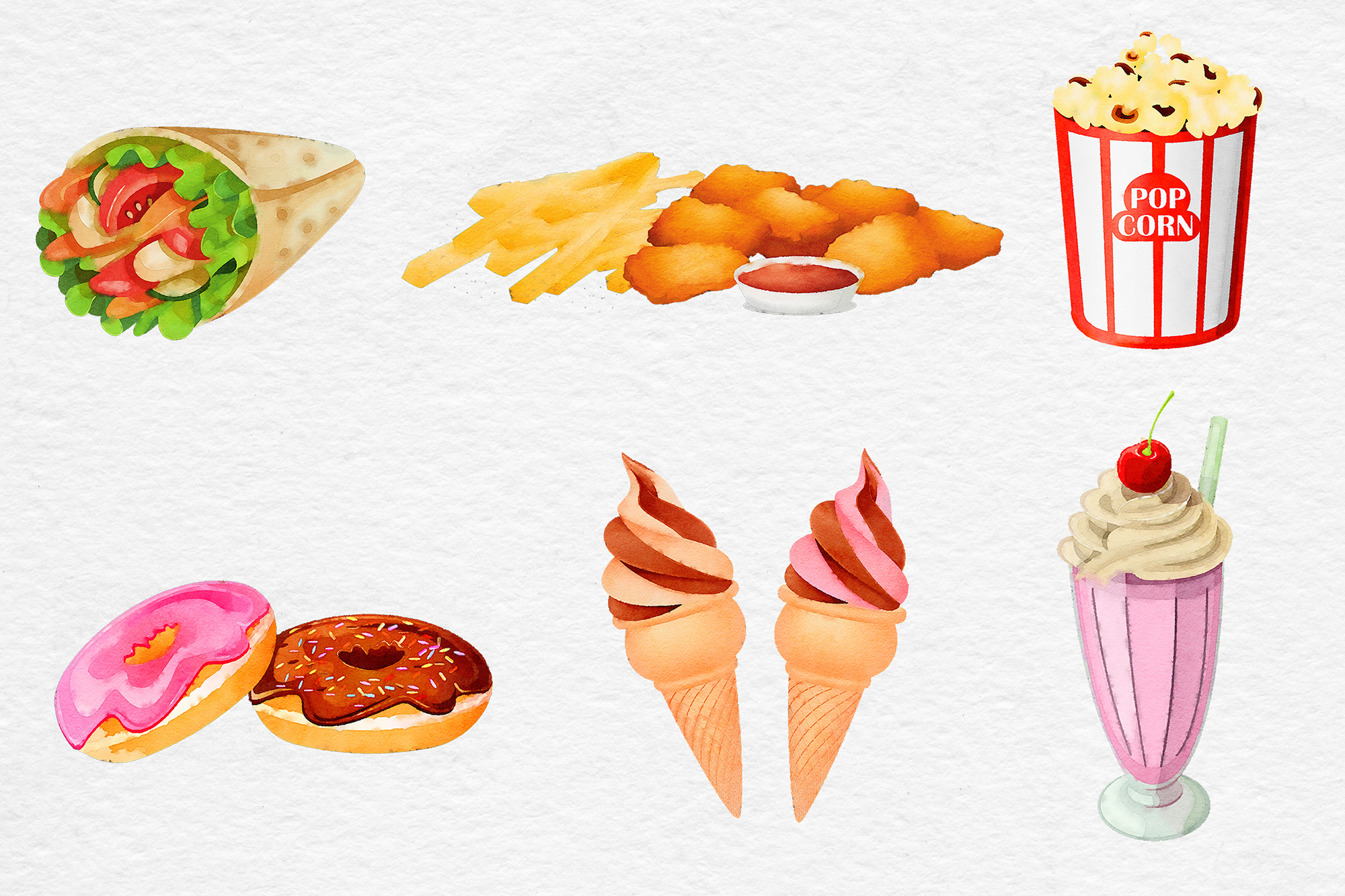 Watercolor Fast Food Clipart example image 3