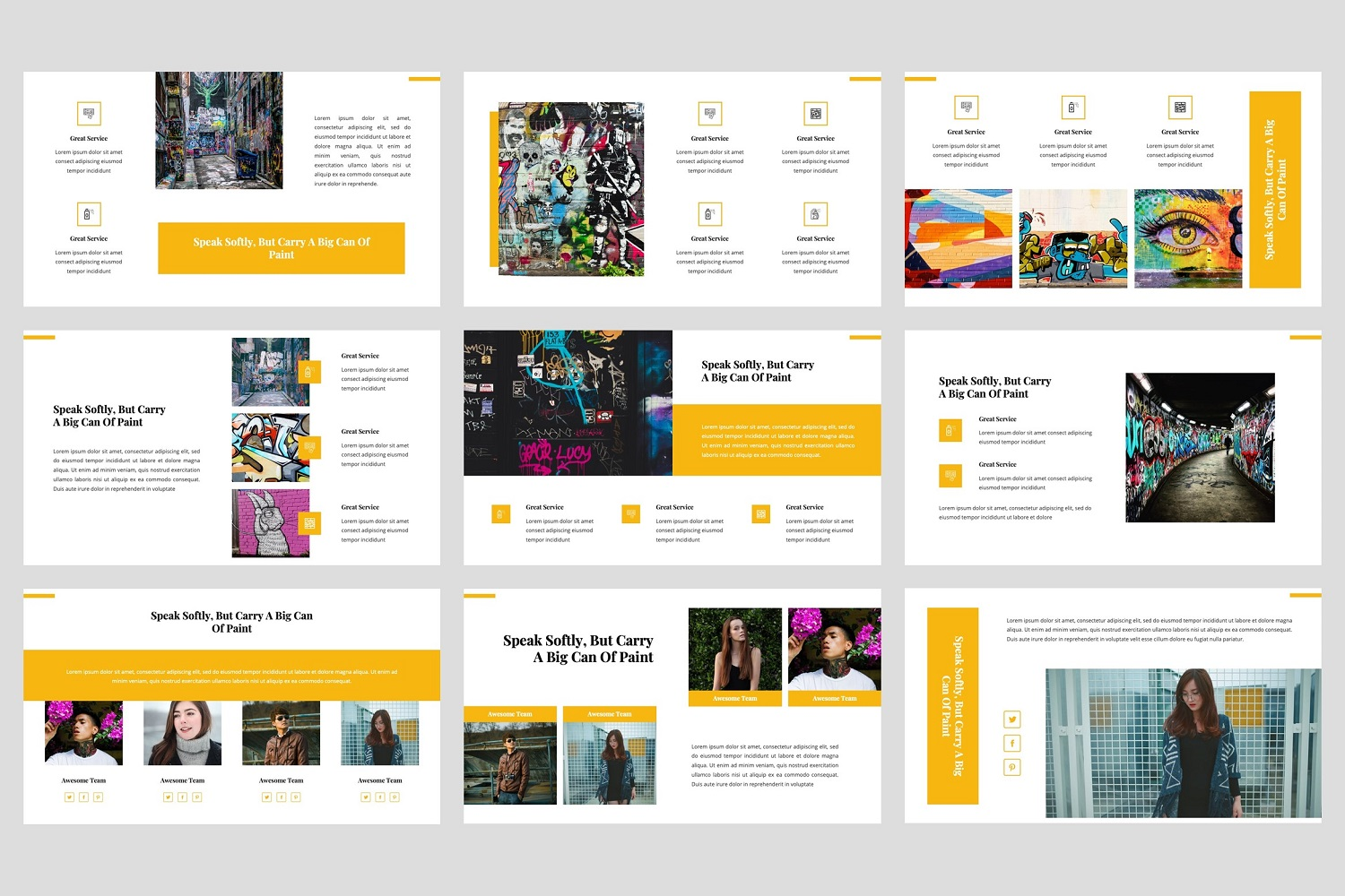Ganes - Graffiti PowerPoint Template example image 3