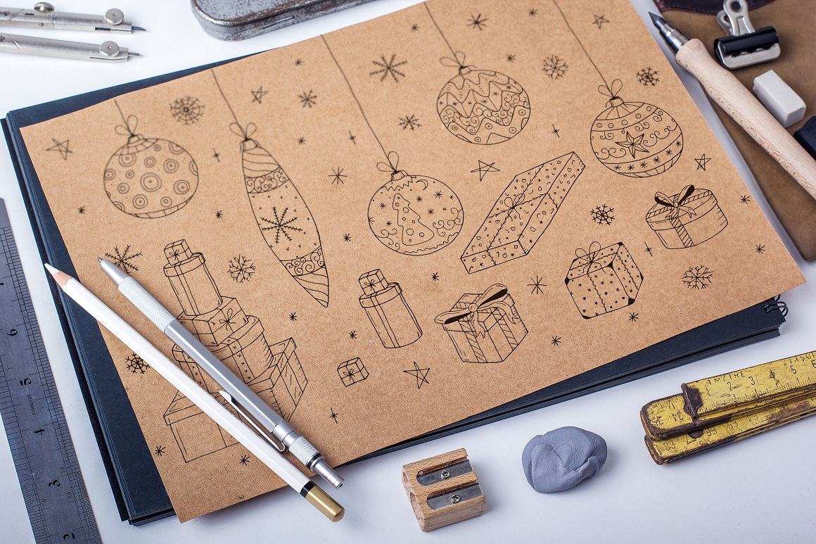 Christmas set in doodle style. example image 1