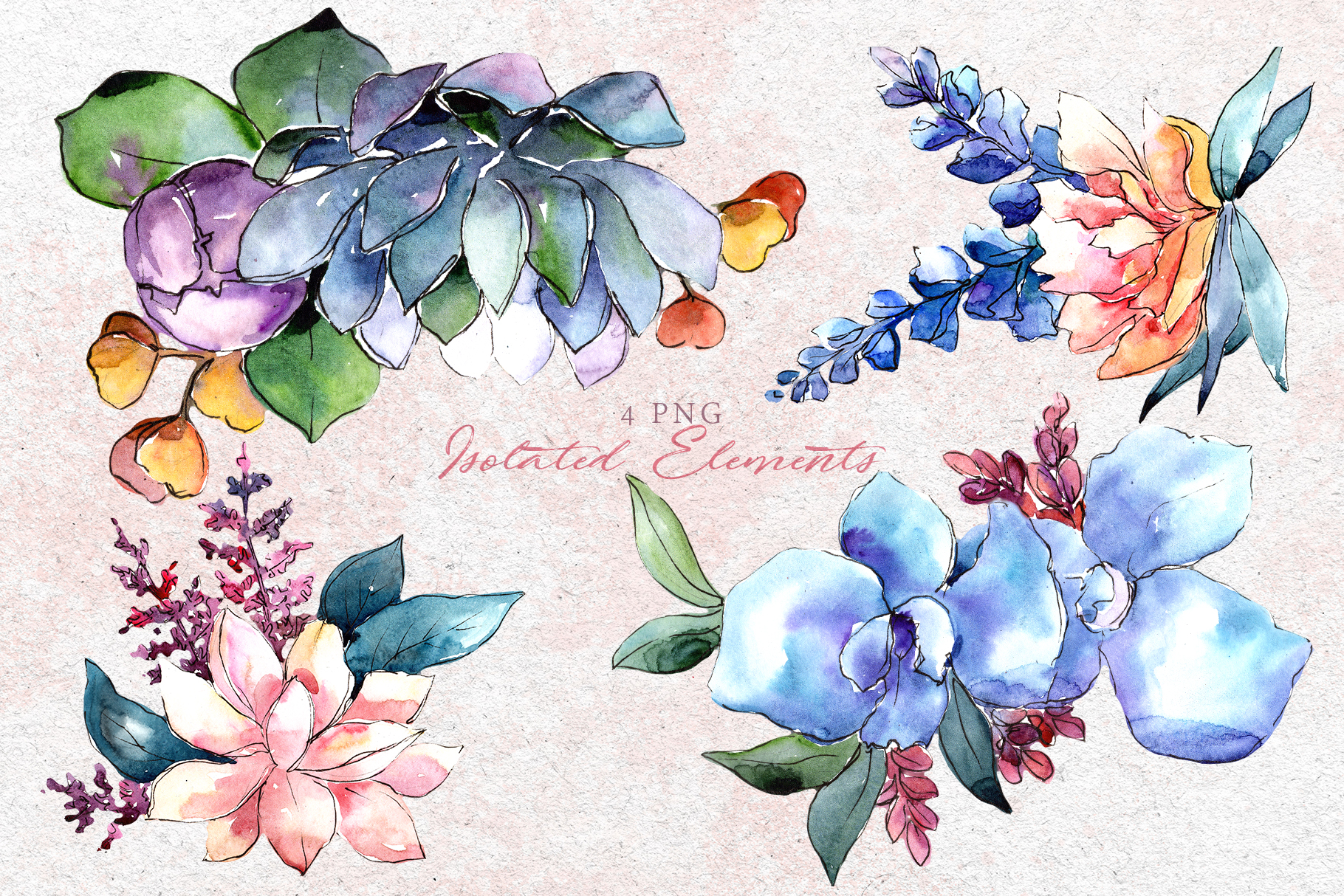 Bouquets flowers set PNG watercolor example image 8