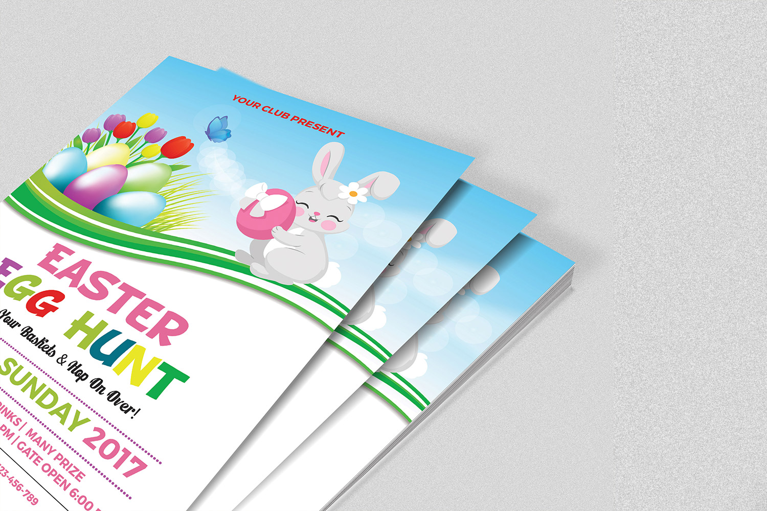 Easter Party Flyer Template | MS Word & Photoshop template example image 2