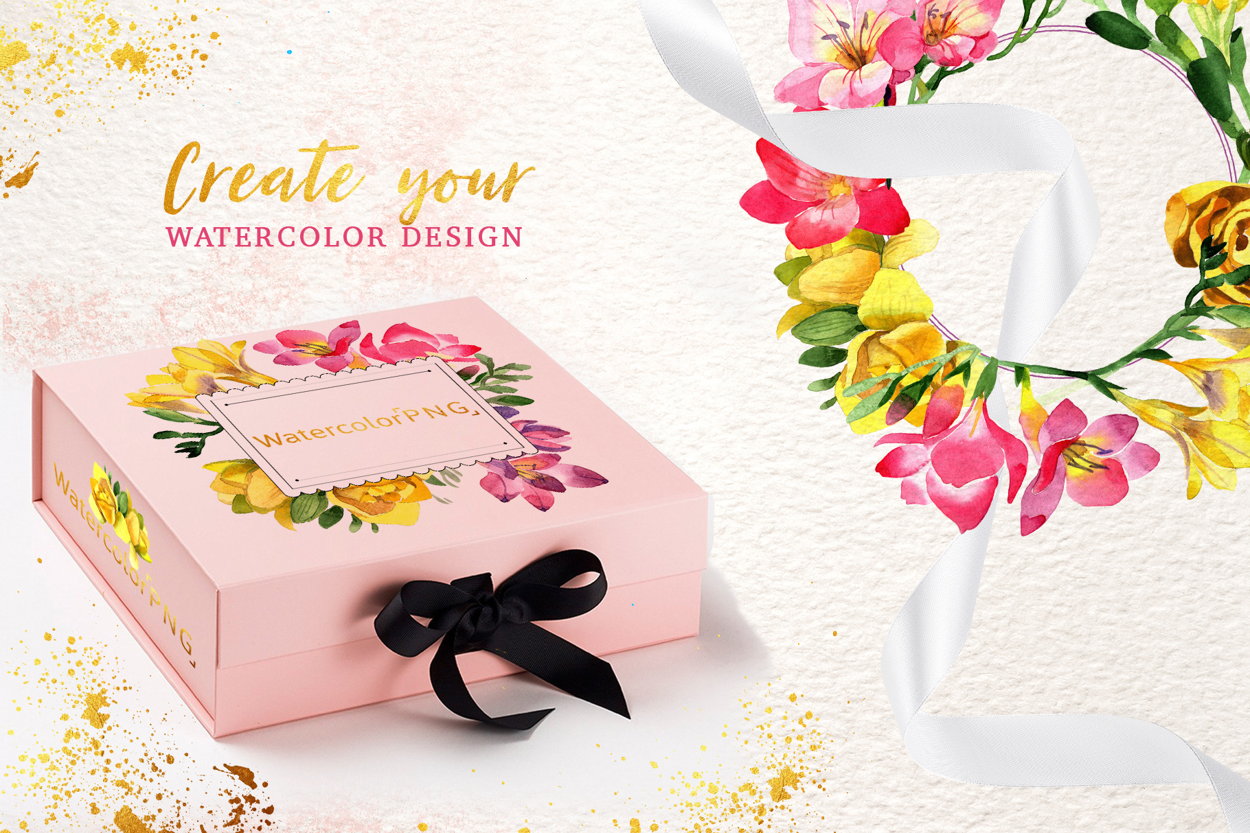 Floral Design collection watercolor png example image 2