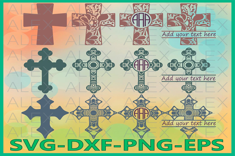 Cross Svg, Cross Mandala Svg, Zentangle svg, Cross Monogram example image 1