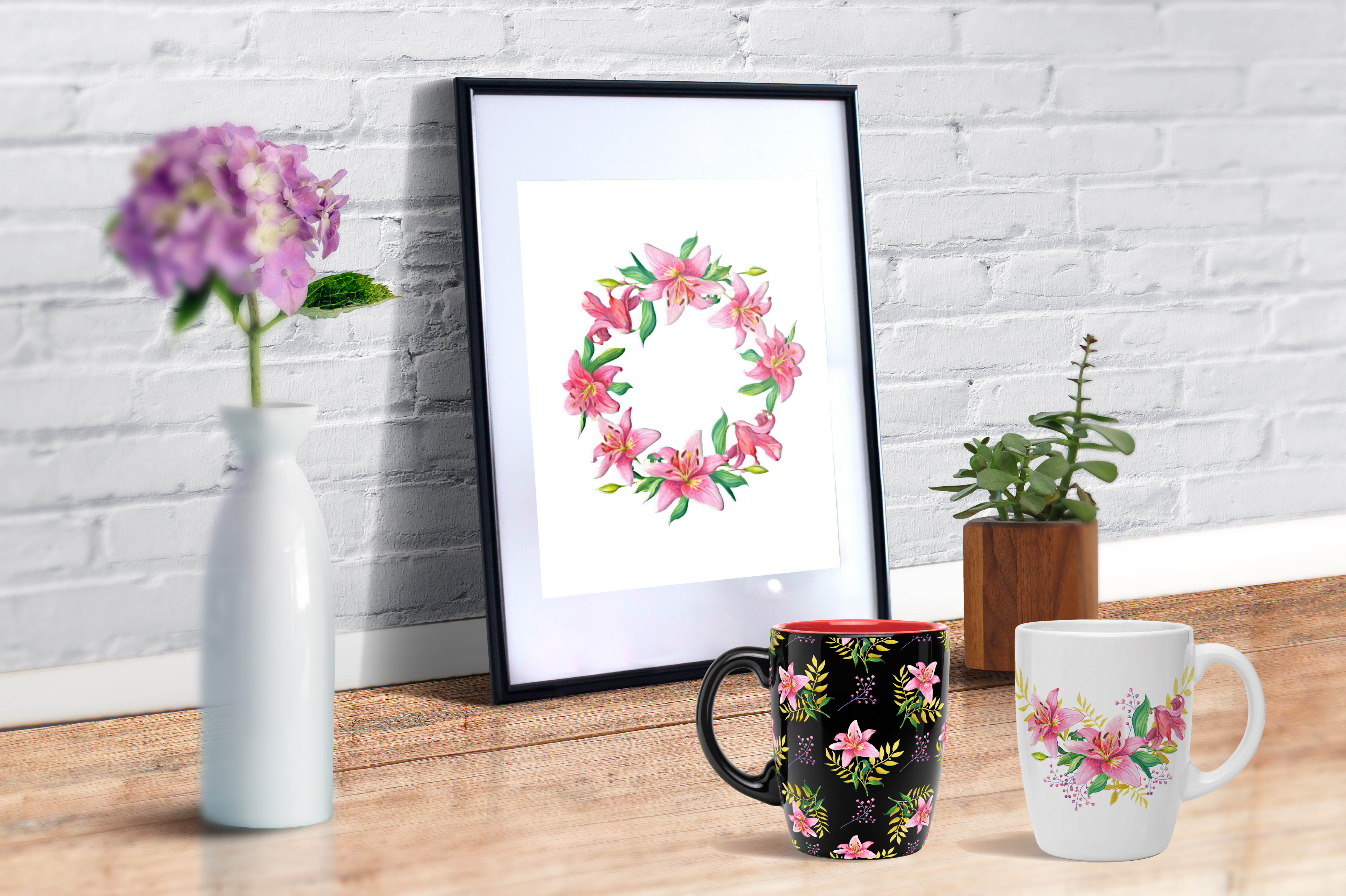 Pink Lilies.Watercolor clipart. example image 6