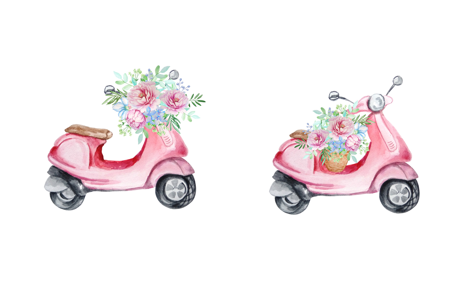 Watercolor Retro Red Moped Clipart Set example image 4