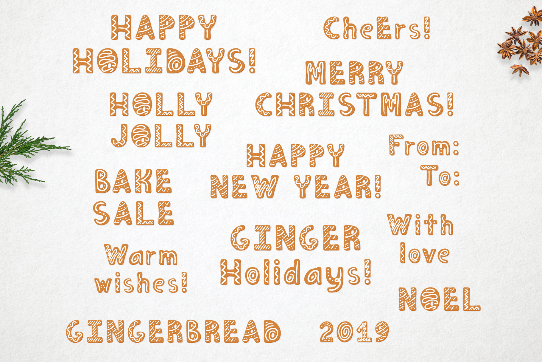 Gingerbread Christmas color SVG font example image 5