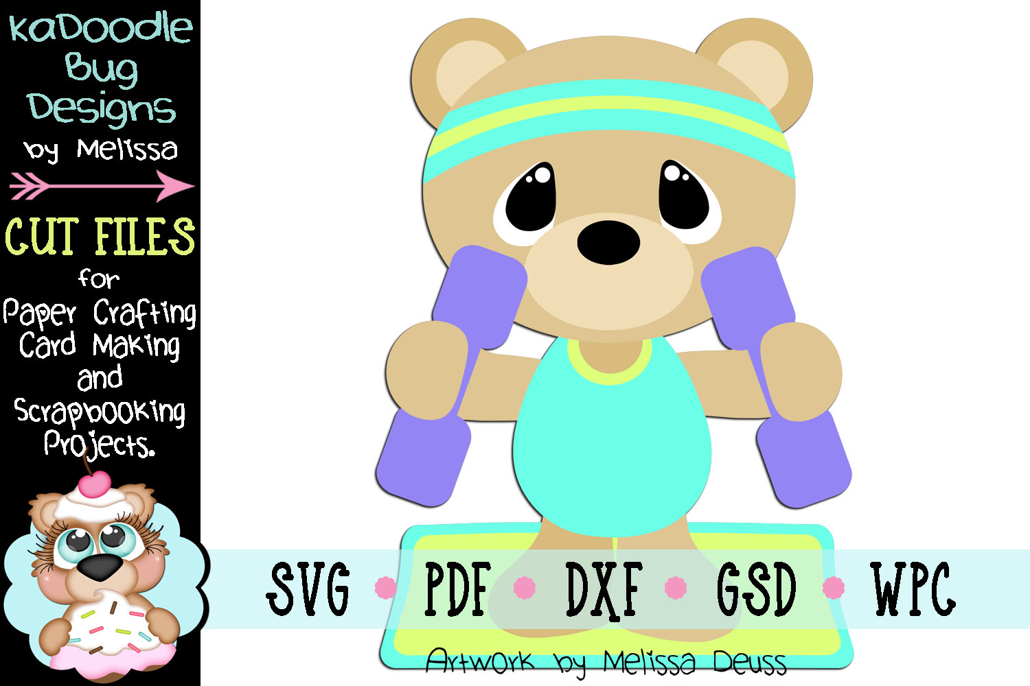 Fitness Workout Bear Cut File - SVG PDF DXF GSD WPC example image 1