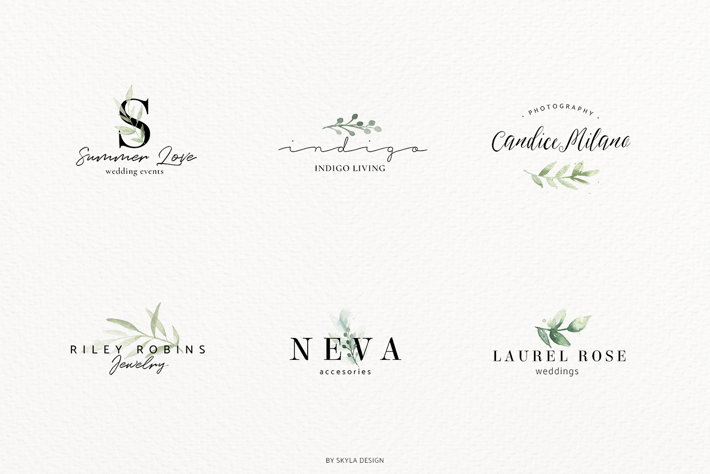Premade Logo bundle watercolor greenery templates example image 9