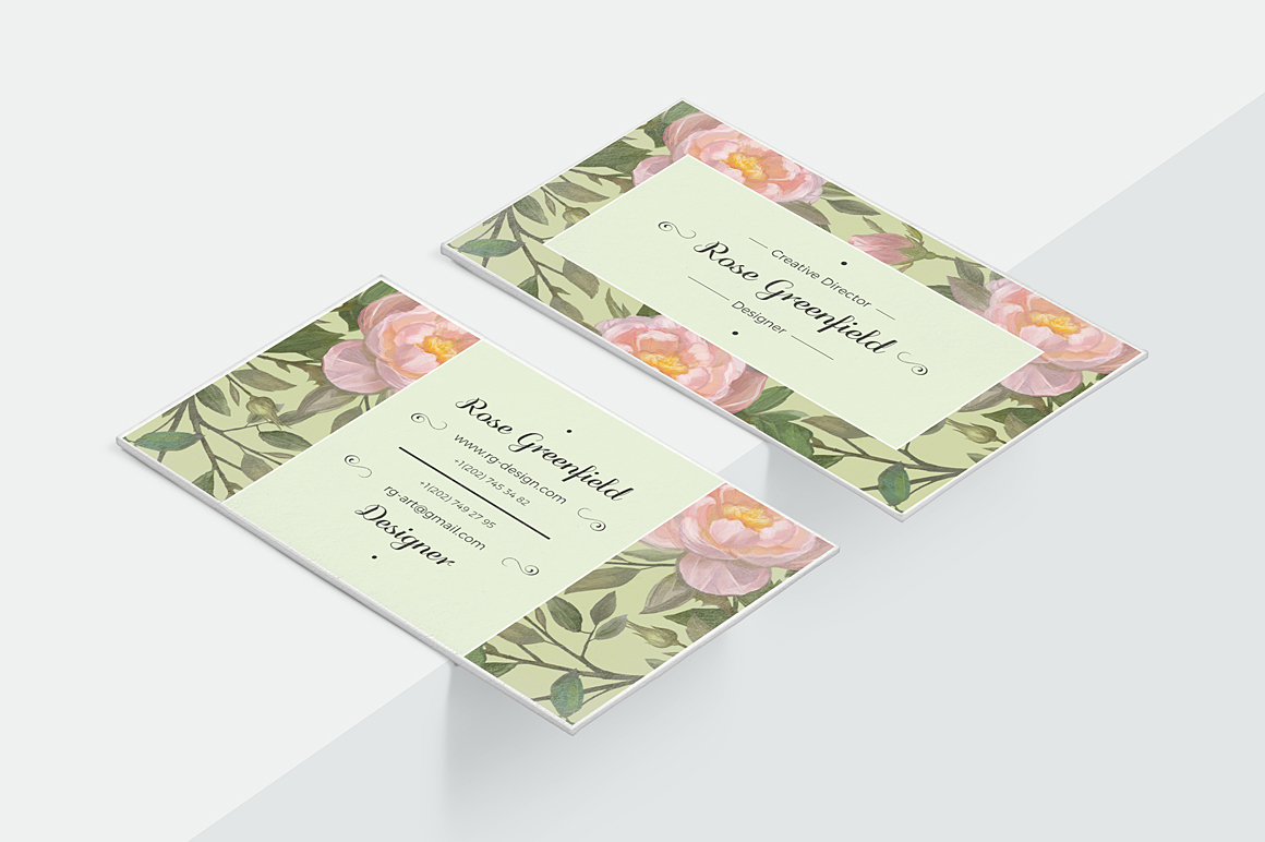 English Rose PSD Business Card Template example image 2
