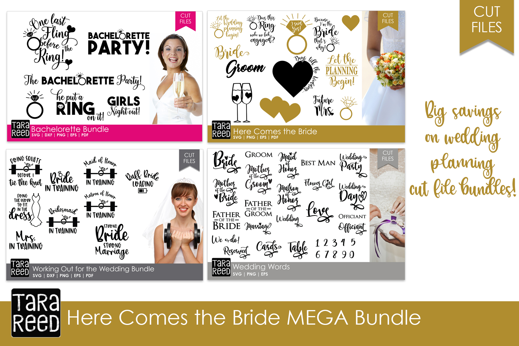 Here Comes the Bride MEGA Bundle - Wedding SVG and Cut Files example image 1