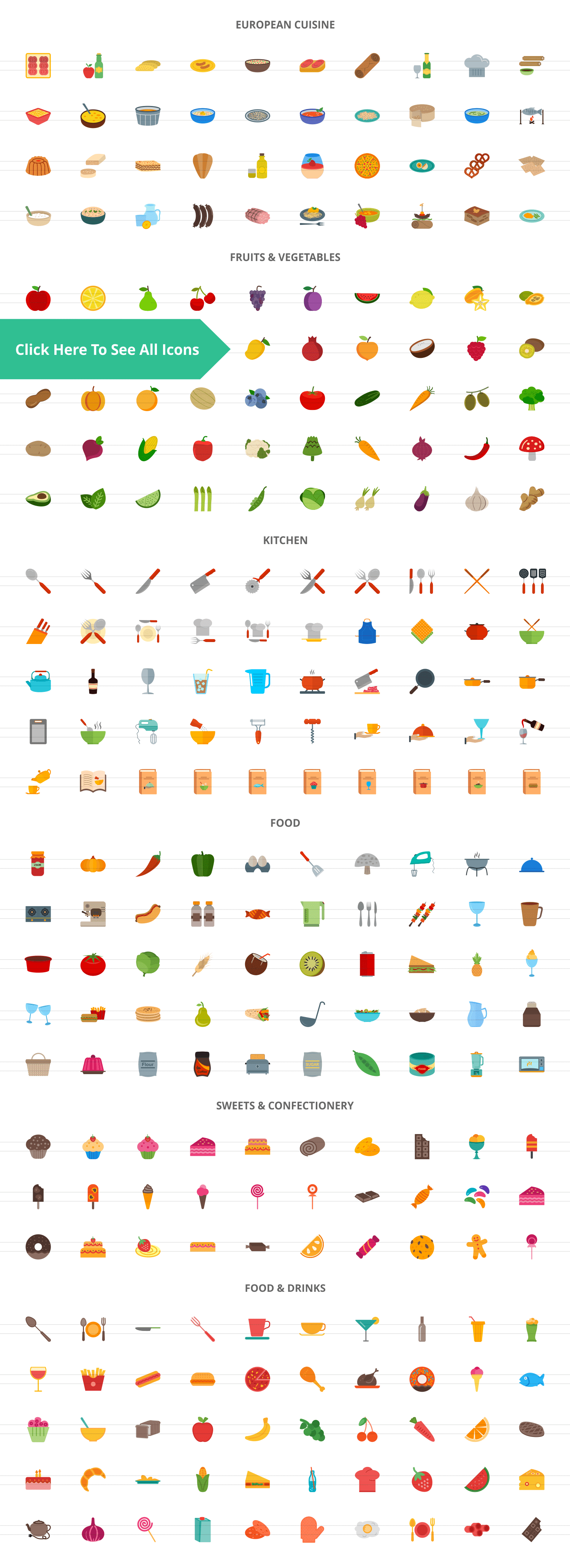 270 Food & Drinks General Flat Icons example image 2
