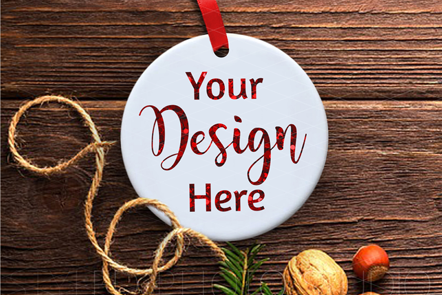 Ceramic Christmas Ornament Mockup Rustic Farmhouse example image 2