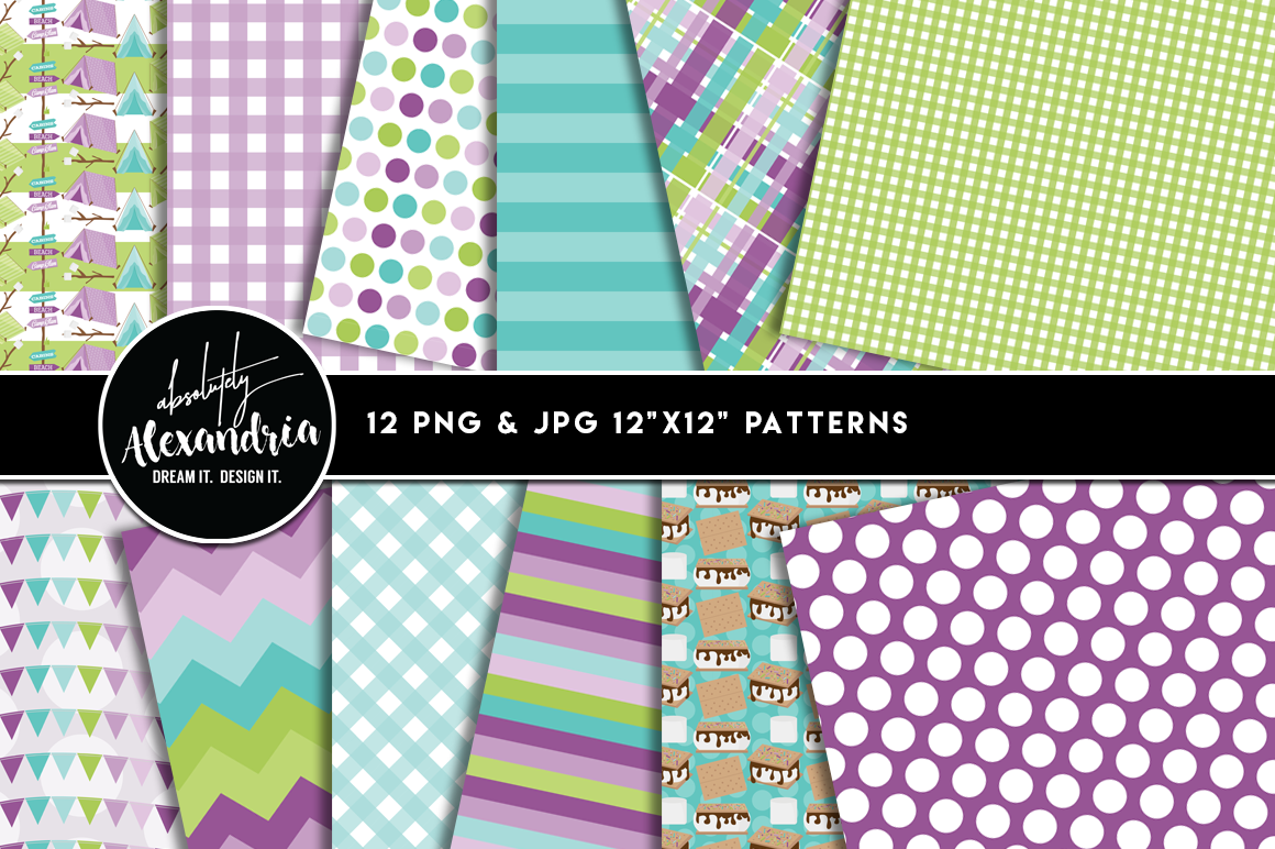 Glam Camper Clipart Graphics & Digital Paper Patterns Bundle example image 2