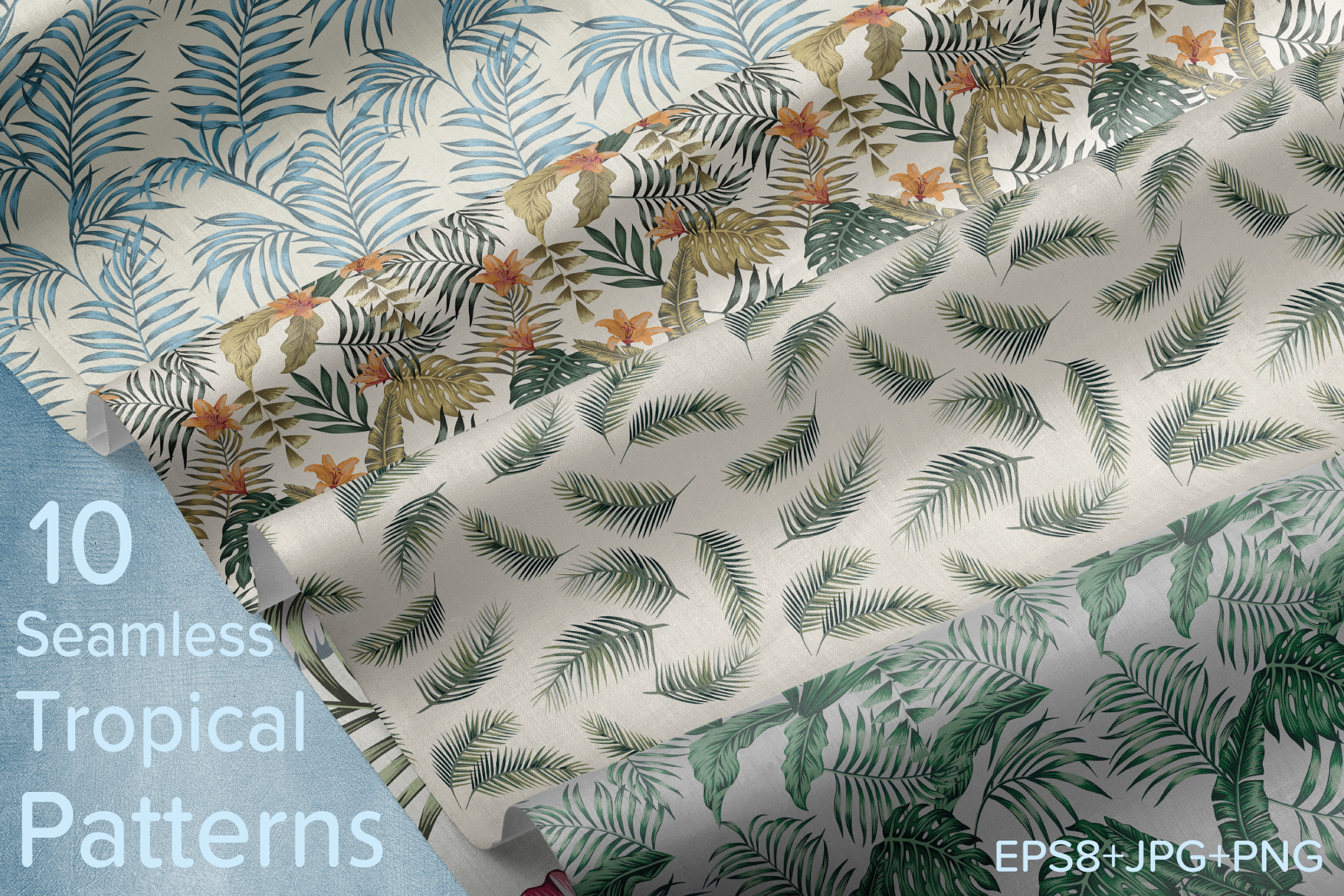 Tropical flowers and leaves pattern. Seamless design. example image 1